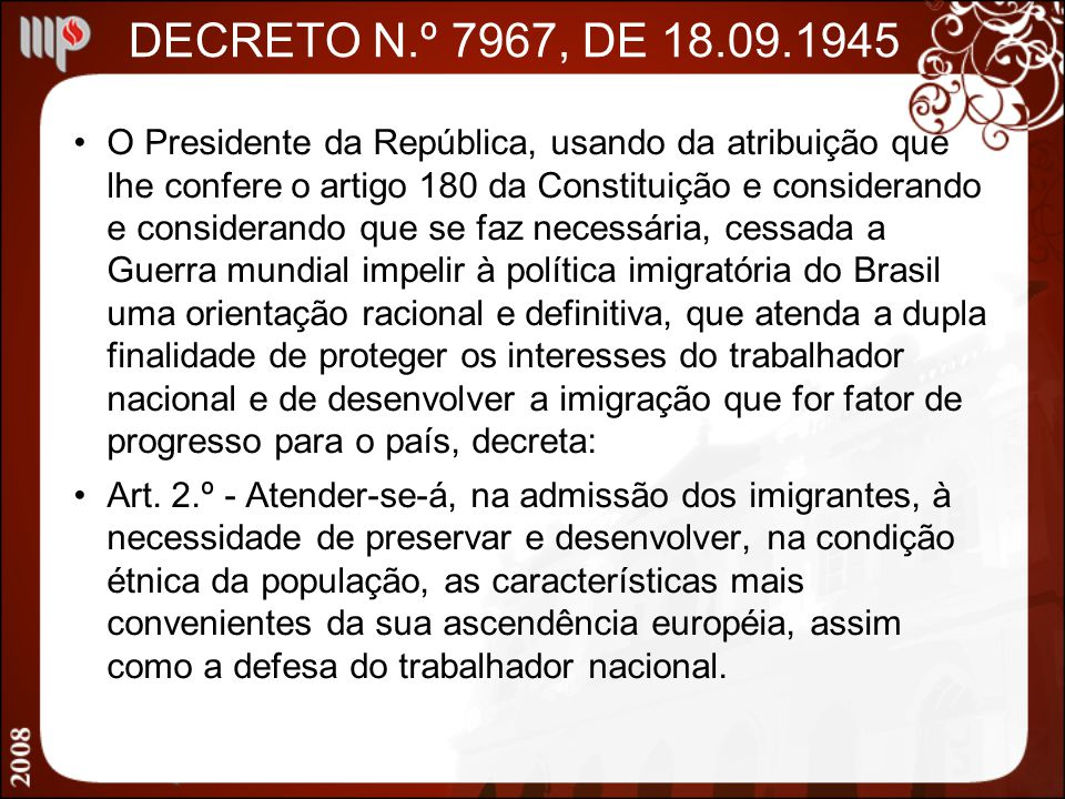 DECRETO N.º 7967, DE 18.09.1945