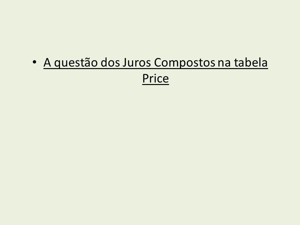 A questão dos Juros Compostos na tabela Price
