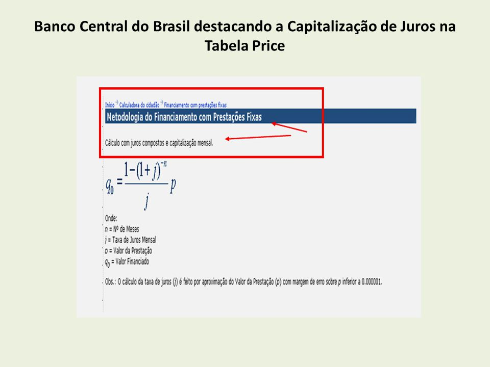 Banco Central do Brasil destacando a Capitalização de Juros na Tabela Price