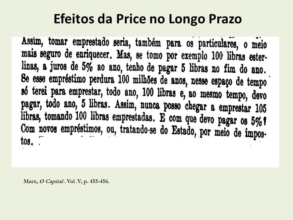 Efeitos da Price no Longo Prazo