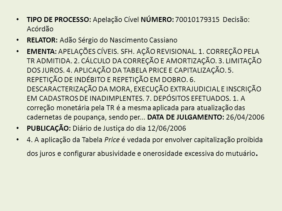 TIPO DE PROCESSO: Apelação Cível NÚMERO: 70010179315 Decisão: Acórdão