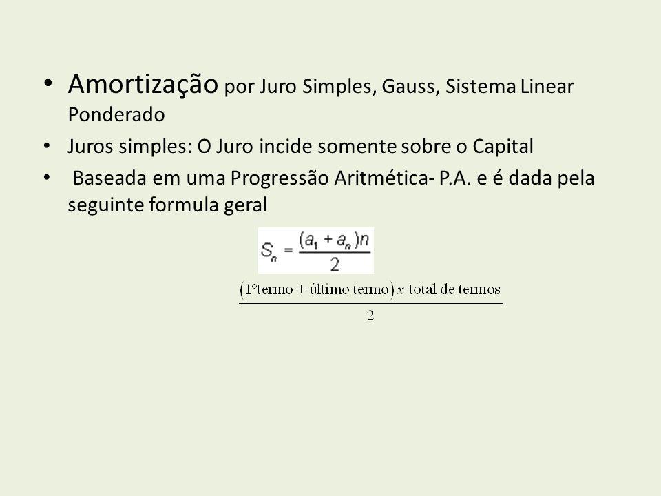 Amortização por Juro Simples, Gauss, Sistema Linear Ponderado