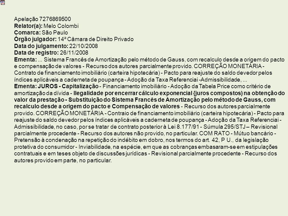 Apelação 7276869500 Relator(a): Melo Colombi. Comarca: São Paulo. Órgão julgador: 14ª Câmara de Direito Privado.