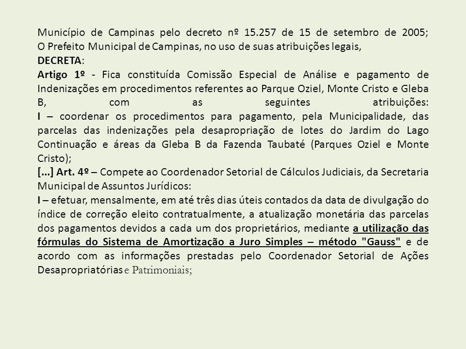 Município de Campinas pelo decreto nº 15