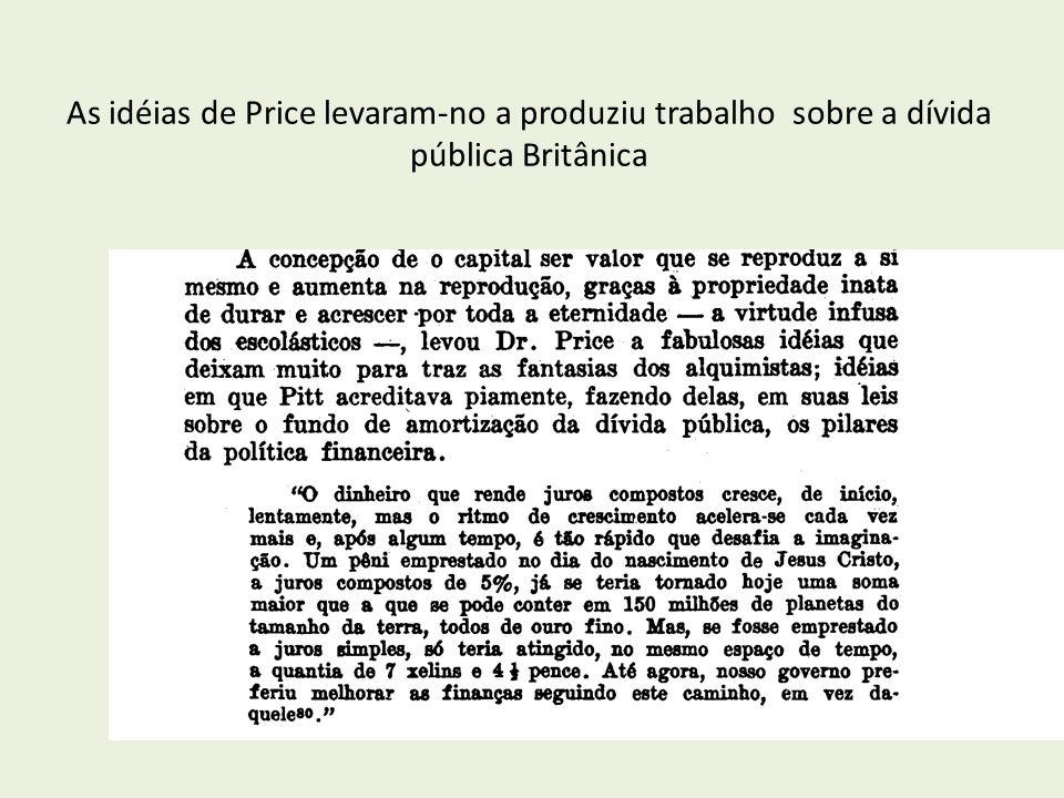 As idéias de Price levaram-no a produziu trabalho sobre a dívida pública Britânica