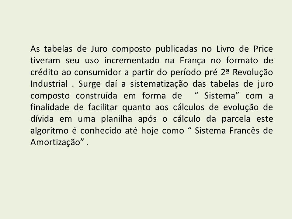 As tabelas de Juro composto publicadas no Livro de Price tiveram seu uso incrementado na França no formato de crédito ao consumidor a partir do período pré 2ª Revolução Industrial .