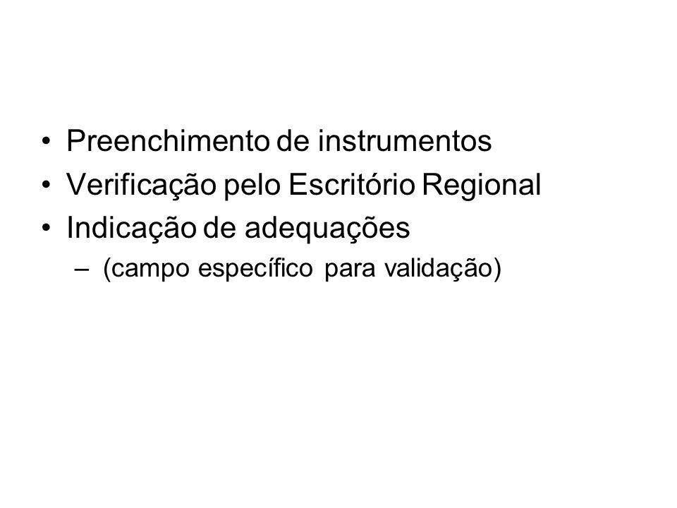 Preenchimento de instrumentos Verificação pelo Escritório Regional