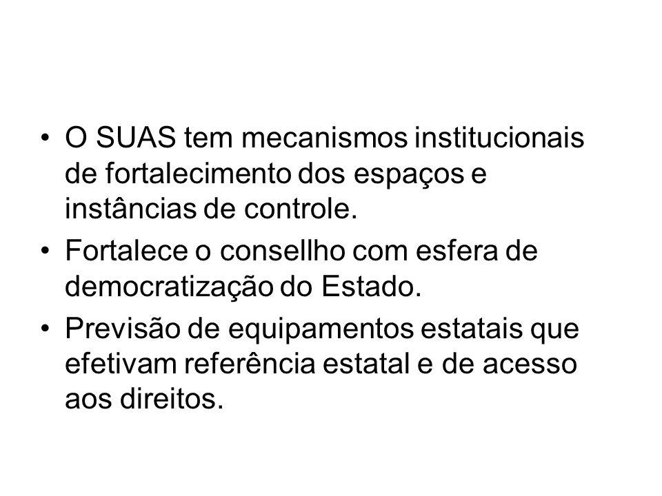 O SUAS tem mecanismos institucionais de fortalecimento dos espaços e instâncias de controle.