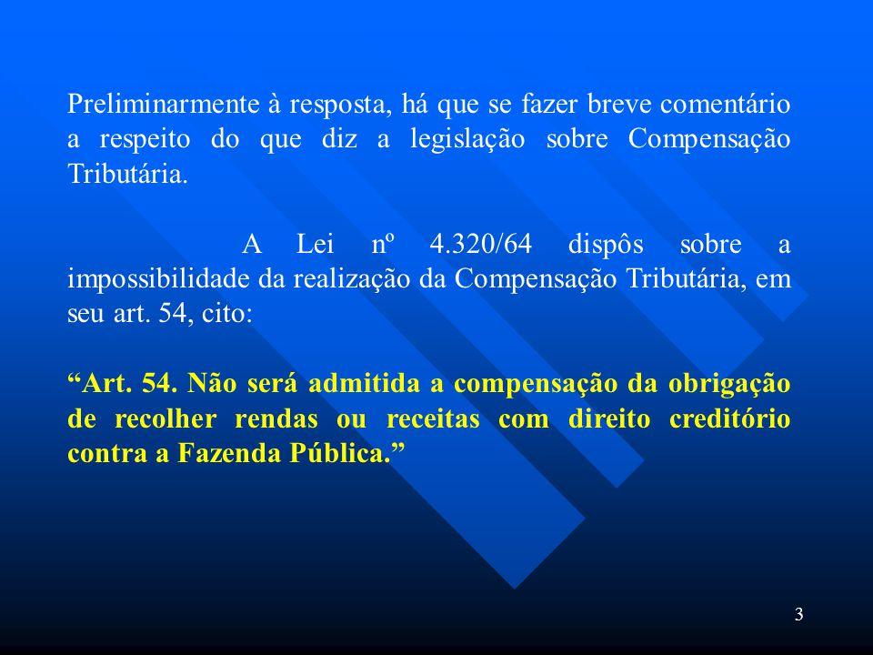 Preliminarmente à resposta, há que se fazer breve comentário a respeito do que diz a legislação sobre Compensação Tributária.