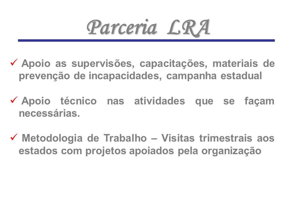 Parceria LRA Apoio as supervisões, capacitações, materiais de prevenção de incapacidades, campanha estadual.