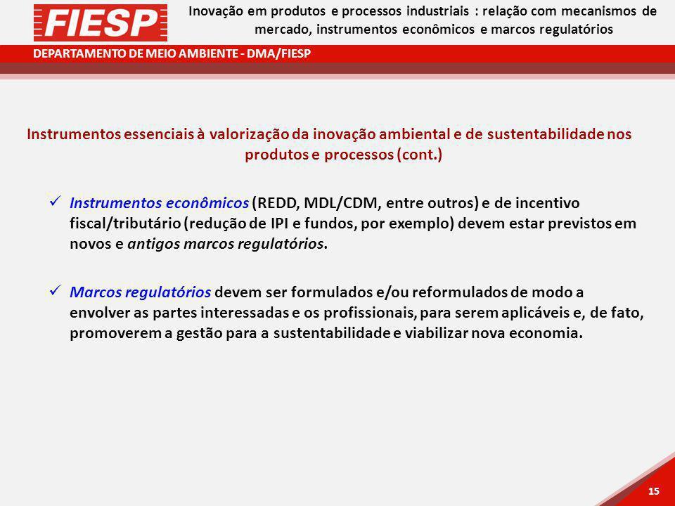 Inovação em produtos e processos industriais : relação com mecanismos de mercado, instrumentos econômicos e marcos regulatórios