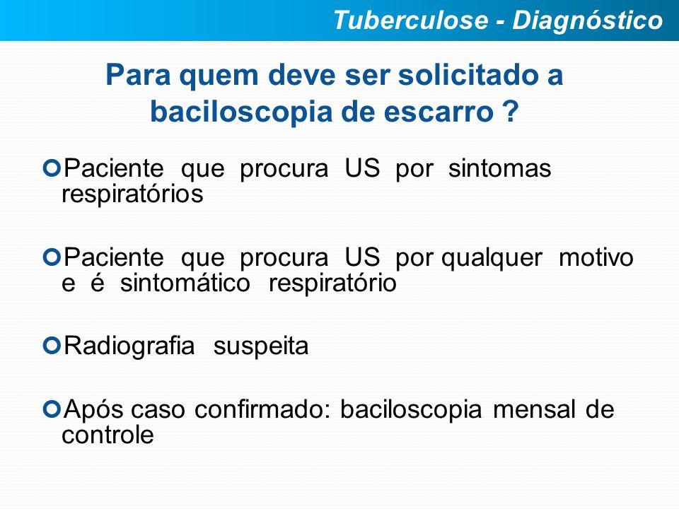 Para quem deve ser solicitado a baciloscopia de escarro