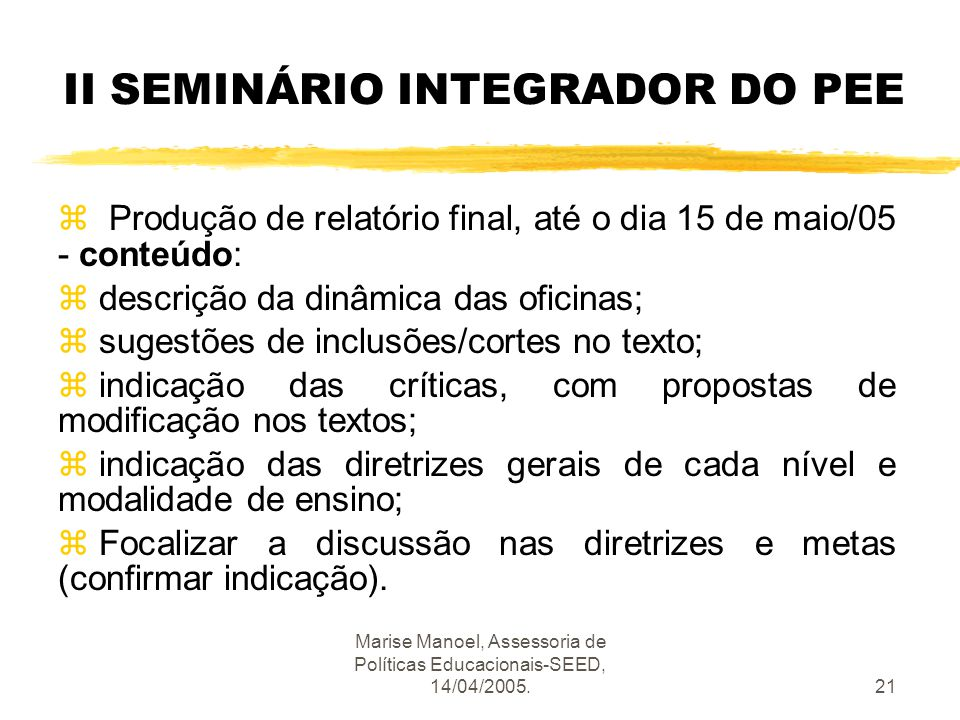 II SEMINÁRIO INTEGRADOR DO PEE