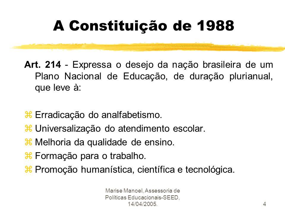 Marise Manoel, Assessoria de Políticas Educacionais-SEED, 14/04/2005.