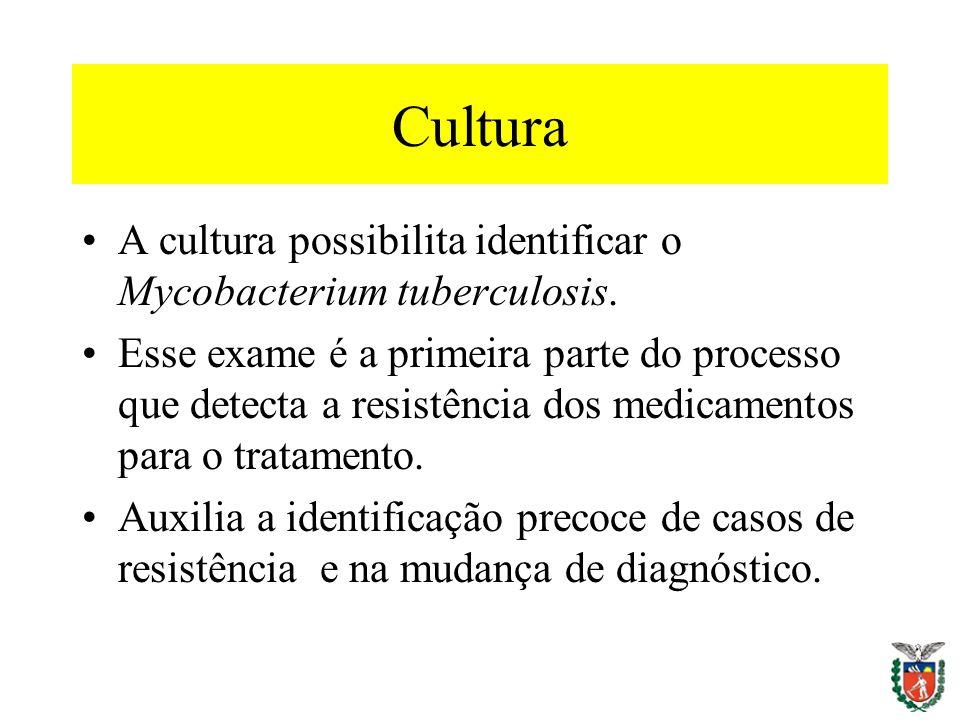 Cultura A cultura possibilita identificar o Mycobacterium tuberculosis.