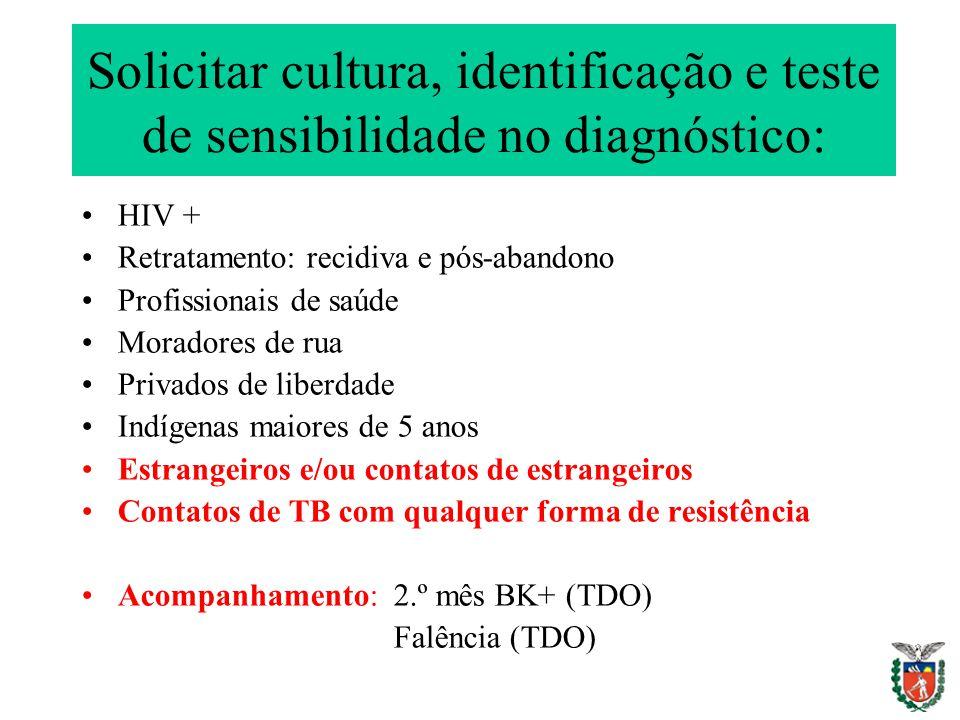 Solicitar cultura, identificação e teste de sensibilidade no diagnóstico: