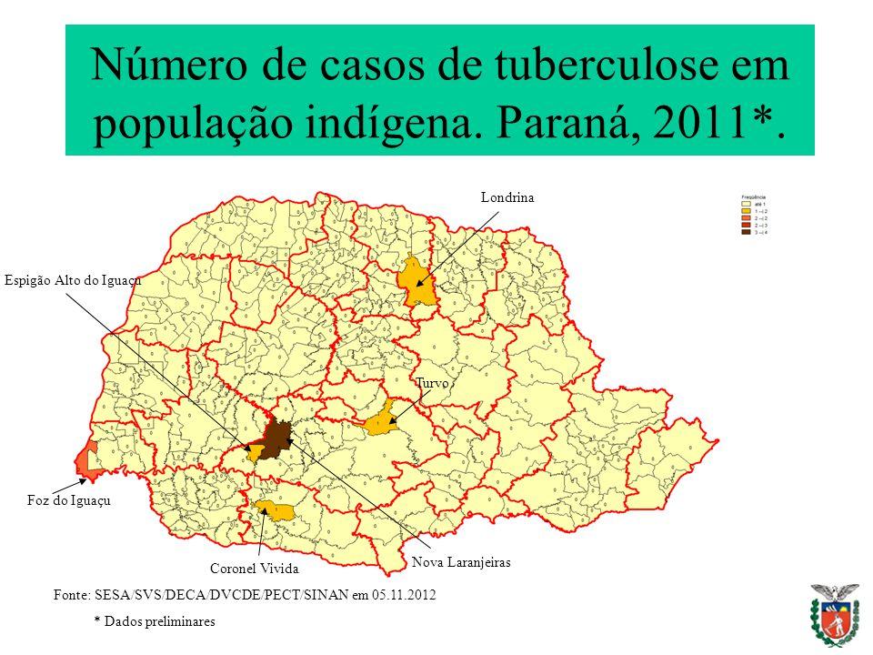 Número de casos de tuberculose em população indígena. Paraná, 2011*.