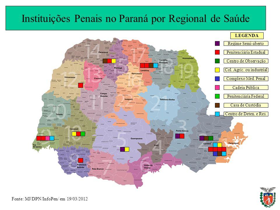 Instituições Penais no Paraná por Regional de Saúde