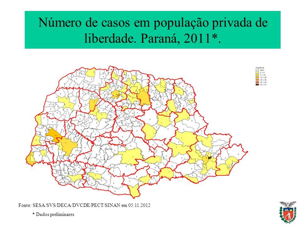 Número de casos em população privada de liberdade. Paraná, 2011*.