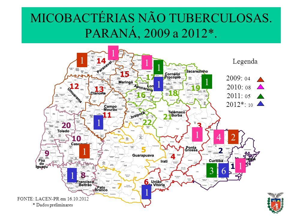 MICOBACTÉRIAS NÃO TUBERCULOSAS. PARANÁ, 2009 a 2012*.