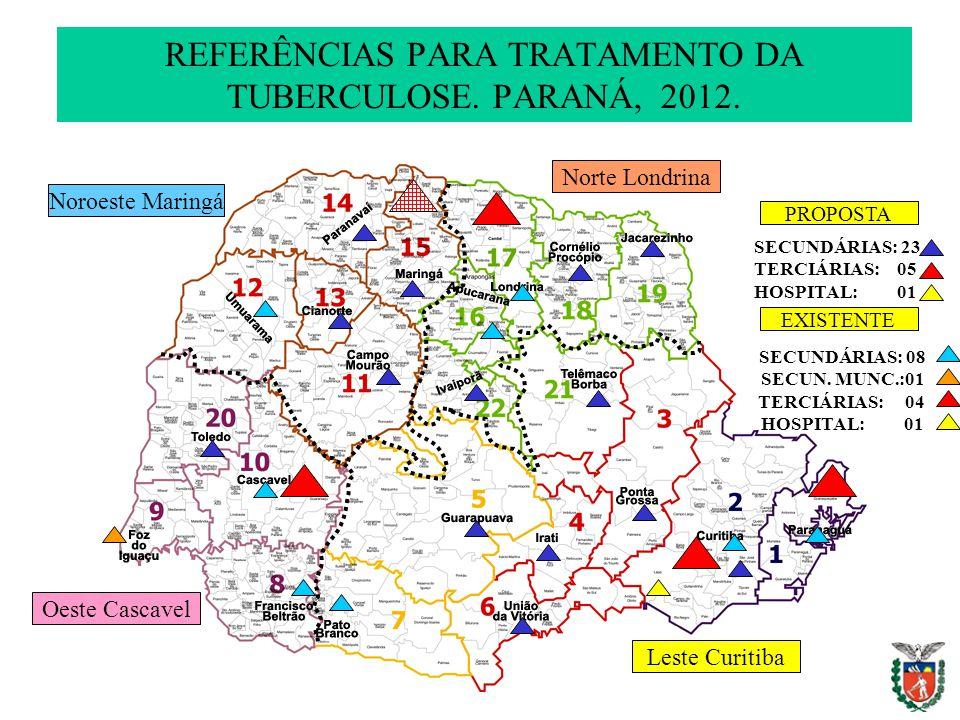 REFERÊNCIAS PARA TRATAMENTO DA TUBERCULOSE. PARANÁ, 2012.