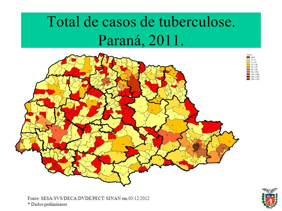 Total de casos de tuberculose. Paraná, 2011.
