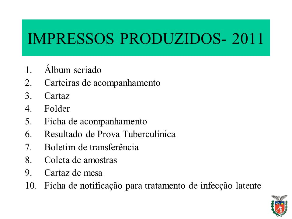 IMPRESSOS PRODUZIDOS- 2011