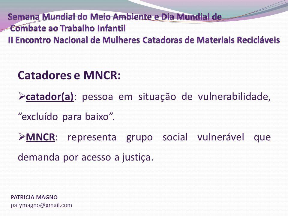 Catadores e MNCR: catador(a): pessoa em situação de vulnerabilidade, excluído para baixo .