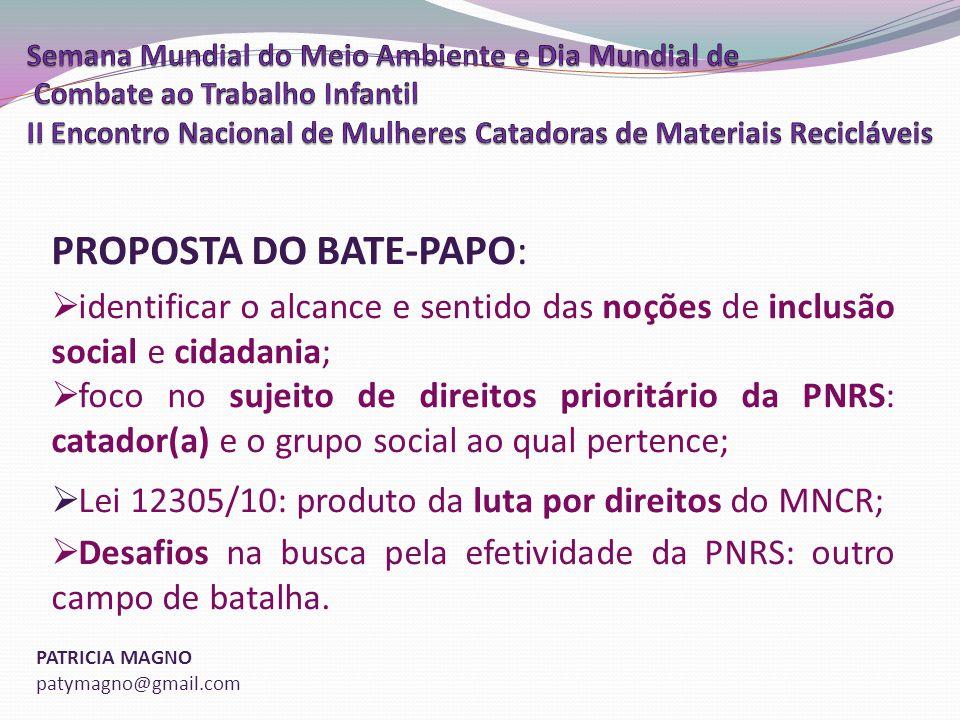 PROPOSTA DO BATE-PAPO: