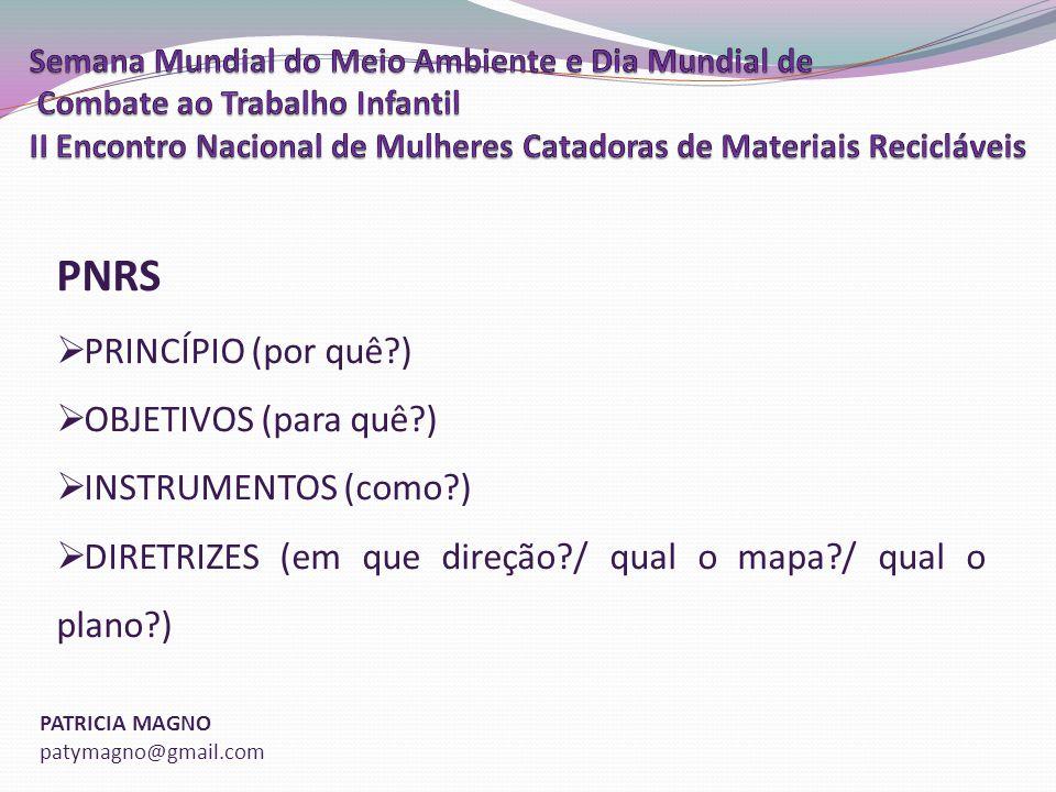 PNRS PRINCÍPIO (por quê ) OBJETIVOS (para quê ) INSTRUMENTOS (como )