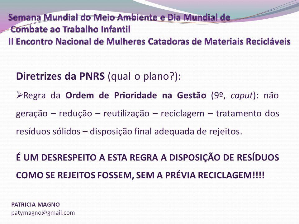 Diretrizes da PNRS (qual o plano ):