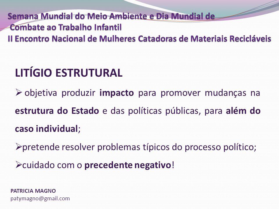 LITÍGIO ESTRUTURAL objetiva produzir impacto para promover mudanças na estrutura do Estado e das políticas públicas, para além do caso individual;