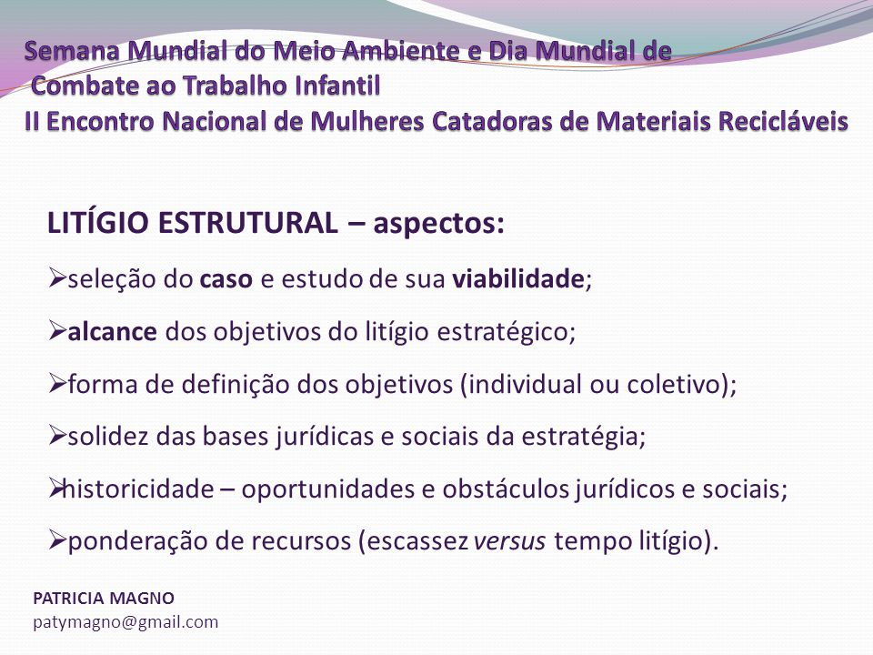 LITÍGIO ESTRUTURAL – aspectos: