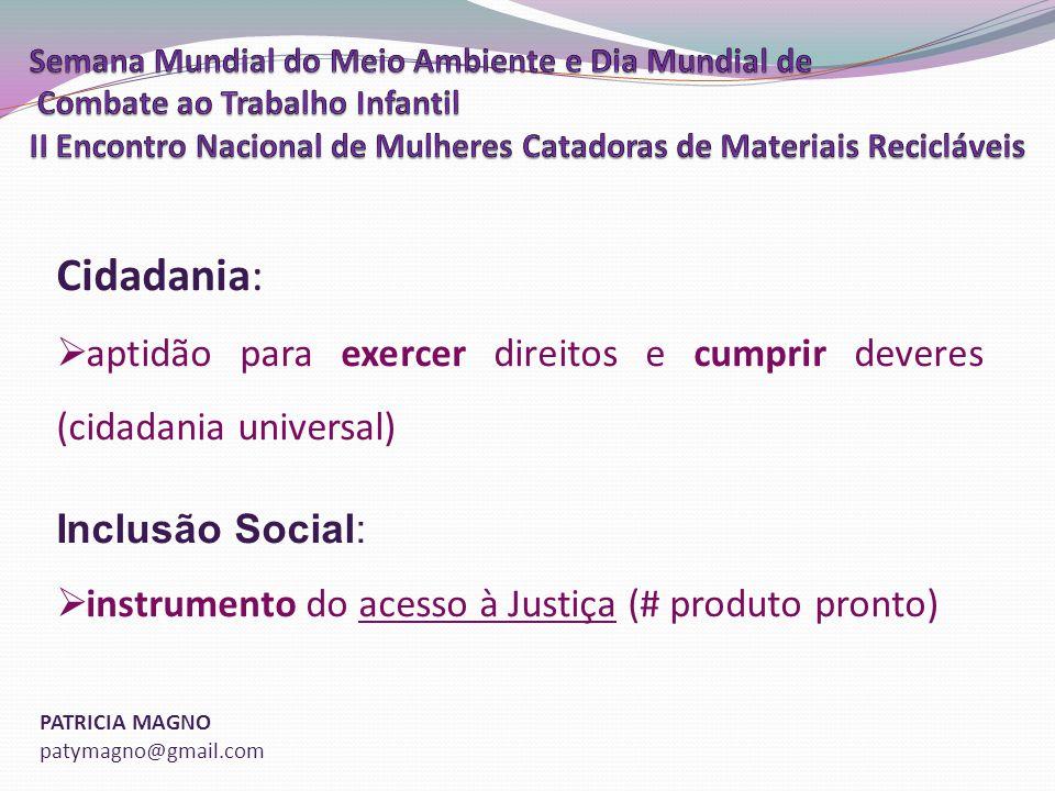 Cidadania: aptidão para exercer direitos e cumprir deveres (cidadania universal) Inclusão Social: