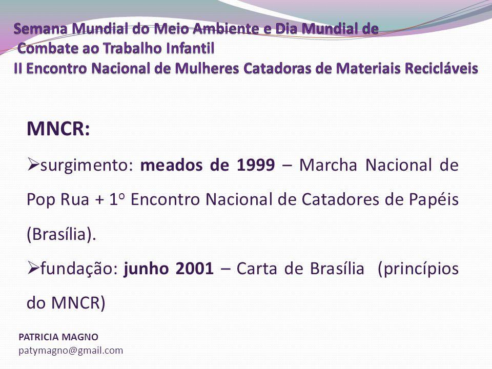 MNCR: surgimento: meados de 1999 – Marcha Nacional de Pop Rua + 1o Encontro Nacional de Catadores de Papéis (Brasília).