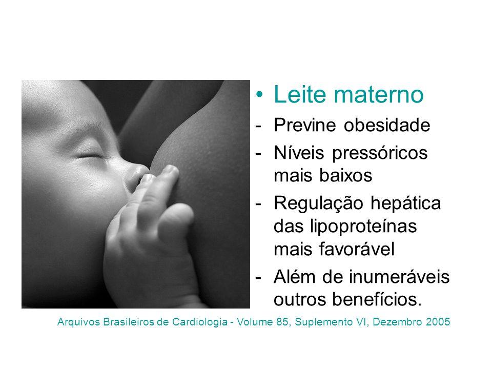 Leite materno Previne obesidade Níveis pressóricos mais baixos