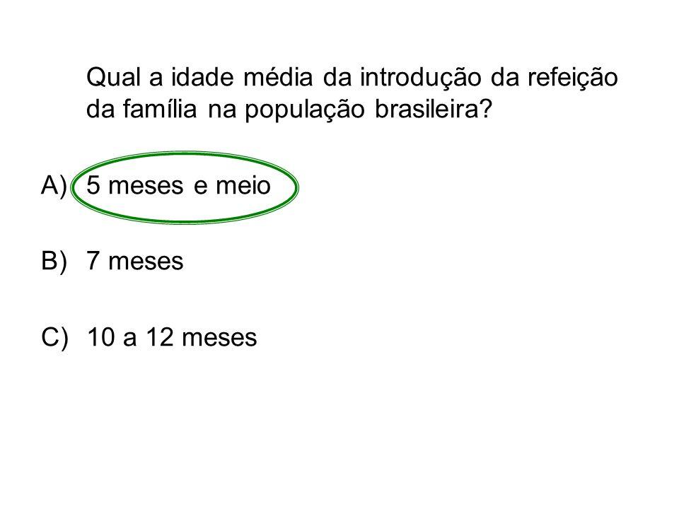 Qual a idade média da introdução da refeição da família na população brasileira