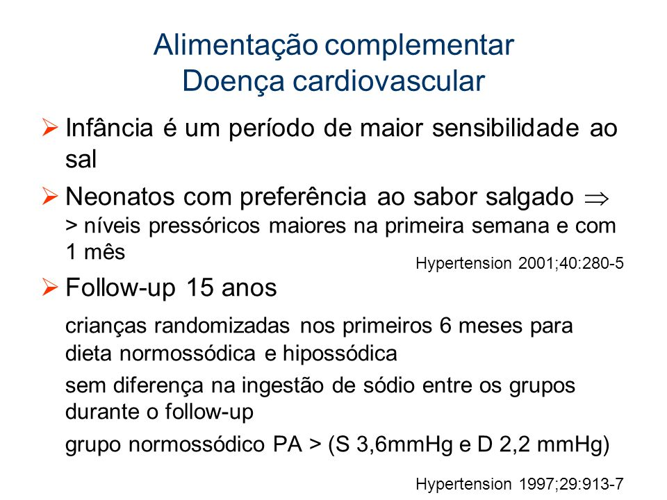 Alimentação complementar Doença cardiovascular