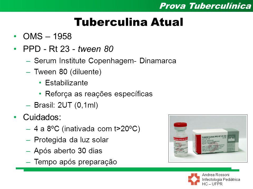 Tuberculina Atual OMS – 1958 PPD - Rt 23 - tween 80 Cuidados: