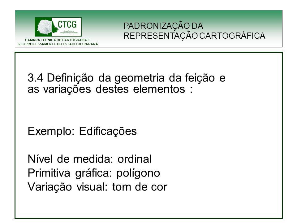 3.4 Definição da geometria da feição e as variações destes elementos :