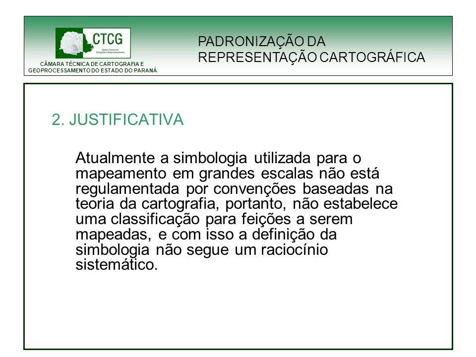 PADRONIZAÇÃO DA REPRESENTAÇÃO CARTOGRÁFICA. 2. JUSTIFICATIVA.