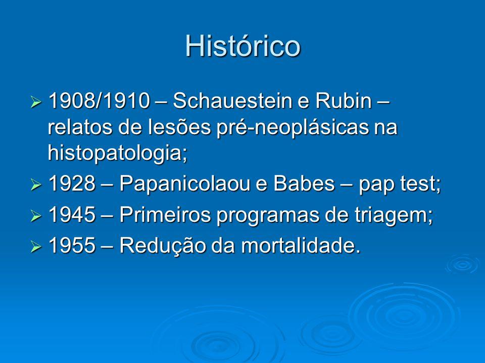 Histórico 1908/1910 – Schauestein e Rubin – relatos de lesões pré-neoplásicas na histopatologia; 1928 – Papanicolaou e Babes – pap test;