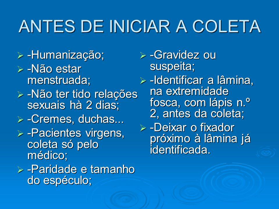 ANTES DE INICIAR A COLETA