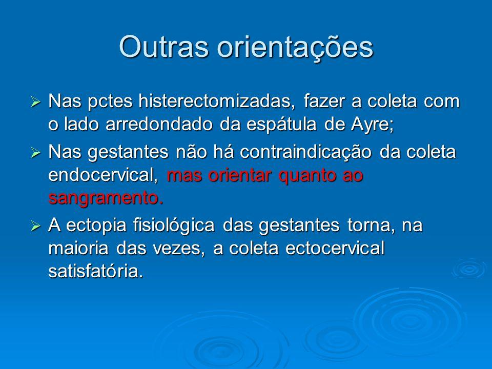 Outras orientações Nas pctes histerectomizadas, fazer a coleta com o lado arredondado da espátula de Ayre;