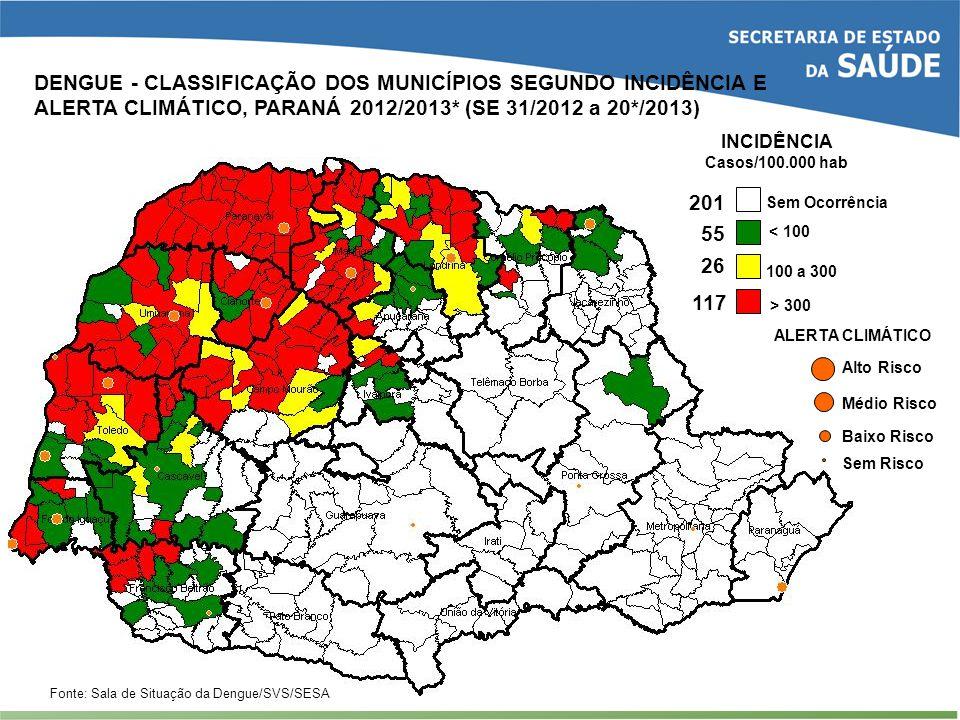DENGUE - CLASSIFICAÇÃO DOS MUNICÍPIOS SEGUNDO INCIDÊNCIA E ALERTA CLIMÁTICO, PARANÁ 2012/2013* (SE 31/2012 a 20*/2013)