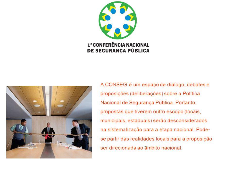 A CONSEG é um espaço de diálogo, debates e proposições (deliberações) sobre a Política Nacional de Segurança Pública.