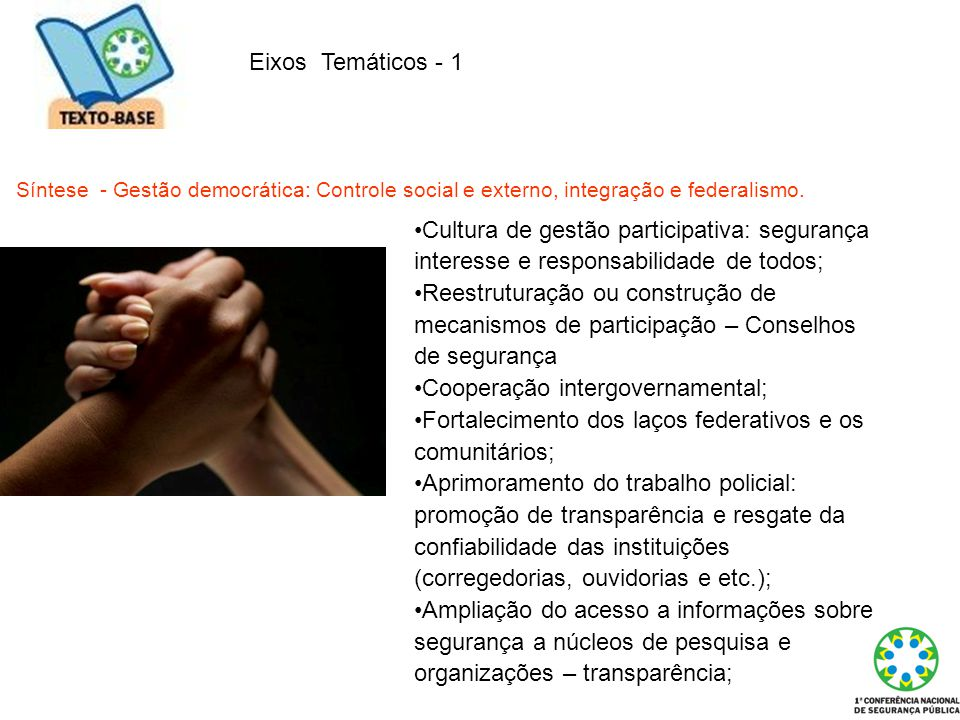 Cooperação intergovernamental;