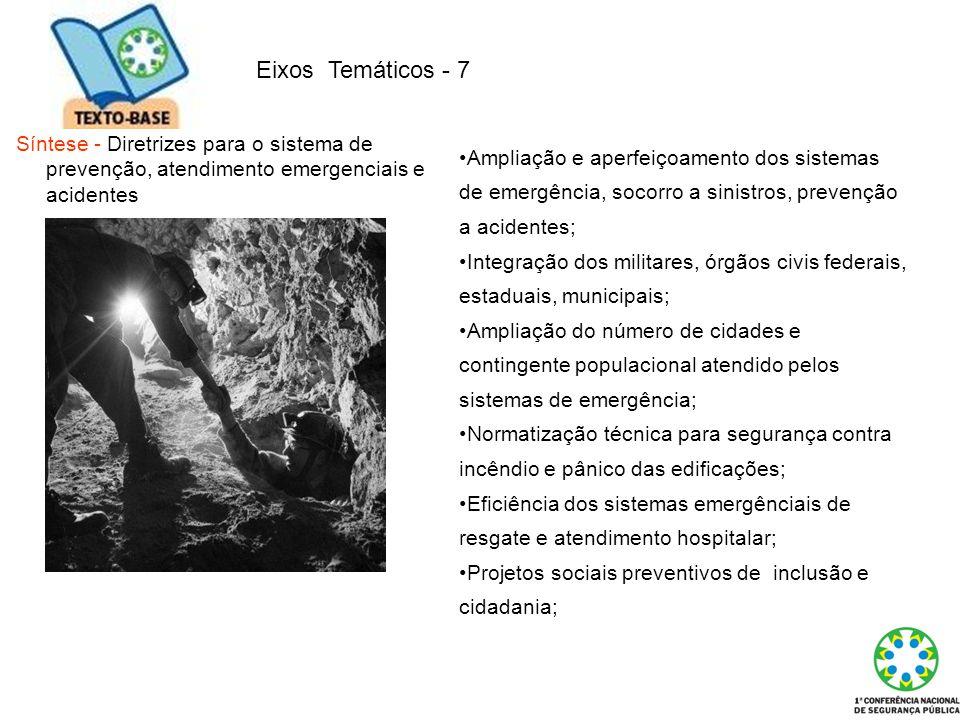 Eixos Temáticos - 7 Síntese - Diretrizes para o sistema de prevenção, atendimento emergenciais e acidentes.