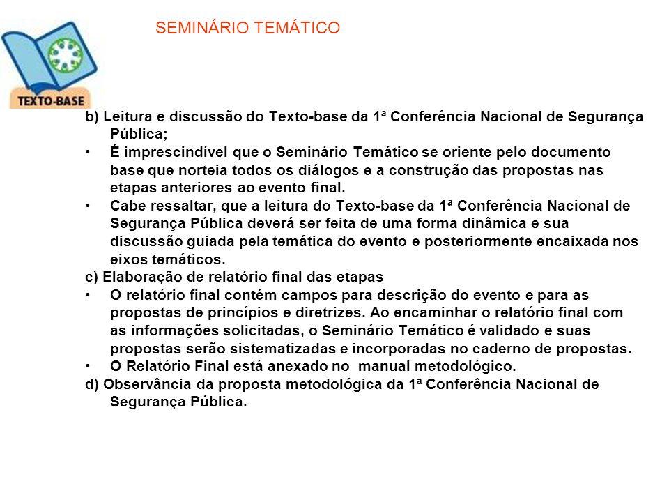 SEMINÁRIO TEMÁTICO b) Leitura e discussão do Texto-base da 1ª Conferência Nacional de Segurança Pública;