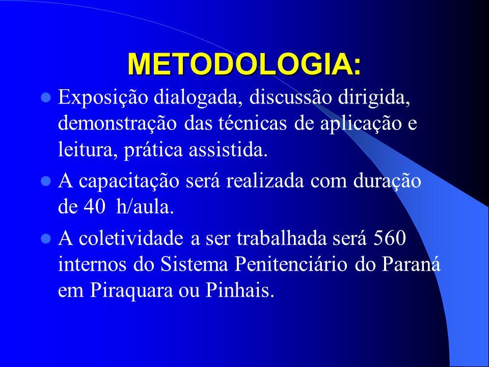 METODOLOGIA: Exposição dialogada, discussão dirigida, demonstração das técnicas de aplicação e leitura, prática assistida.